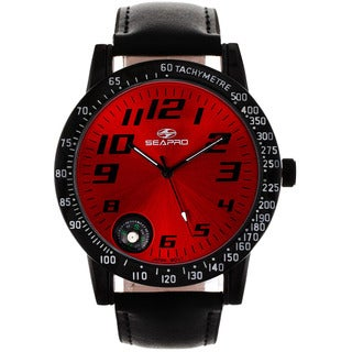 Seapro Men's Raceway Red/ Black Leather Watch