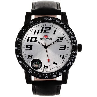 Seapro Men's Raceway Black Leather Watch