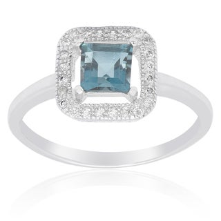 Dolce Giavonna Sterling Silver London Blue Topaz and Cubic Zirconia Square Solitaire Ring