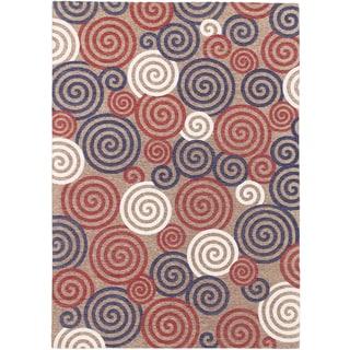 Portico Beige Navy Red Open Field Rug (5'3 x 7'7)
