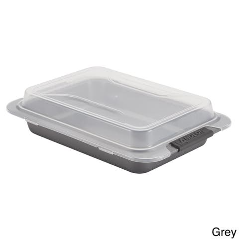 Anolon Advanced Nonstick Bakeware 9 x 13-inch Grey with Silicone Grips Covered Cake Pan