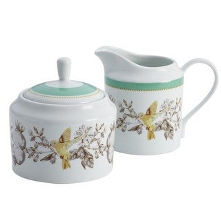 BonJour Dinnerware Fruitful Nectar Print Porcelain Sugar and Creamer Set