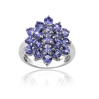 Glitzy Rocks Sterling Silver 2 1/2ct TGW Tanzanite Flower Ring