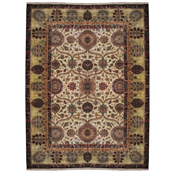 Herat Oriental Indo Hand-knotted William Morris Ivory/ Light Green Wool Rug - 8'10 x 12'