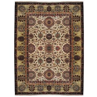 Herat Oriental Indo Hand-knotted William Morris Ivory/ Light Green Wool Rug (8'10 x 12')