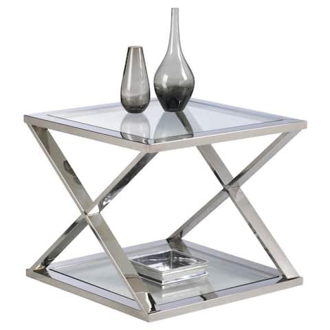 Sunpan 'Ikon' Gotham Polished Steel End Table