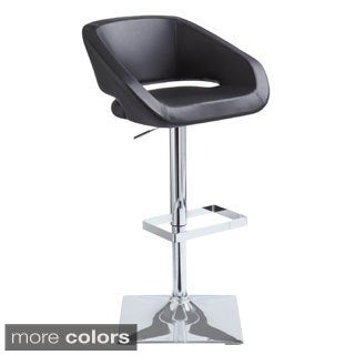 Black Vinyl Bucket Seat Adjustable Bar Stool With Chrome