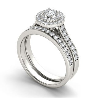 De Couer 10k Gold 1ct TDW Diamond Double Halo Bridal Ring Set