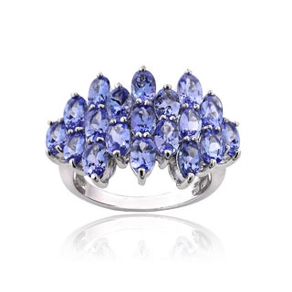 Glitzy Rocks Sterling Silver 5 1/5ct TGW Tanzanite Oval-cut Cluster Ring