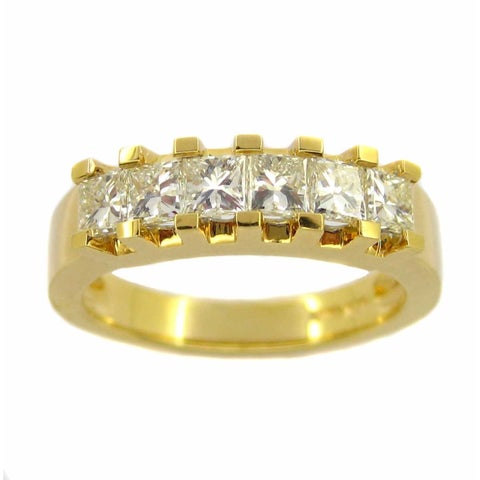 Kabella Luxe 18k Yellow Gold 1 1/5ct TDW Princess-cut Diamond Ring (H-I, VS1-VS2)