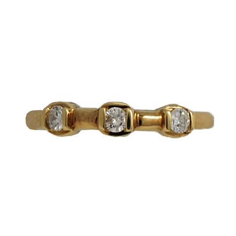 Kabella Luxe 14k Yellow Gold Three Stone Diamond Band Ring 1/5ct - White