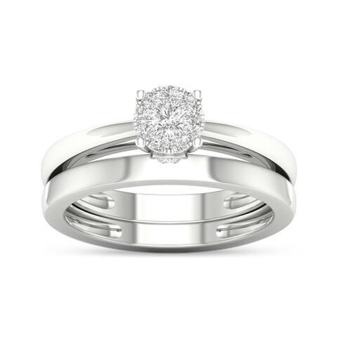 De Couer IGI Certified 10k Gold 1/4ct TDW Multi Stone Solitaire Diamond Bridal Ring Set