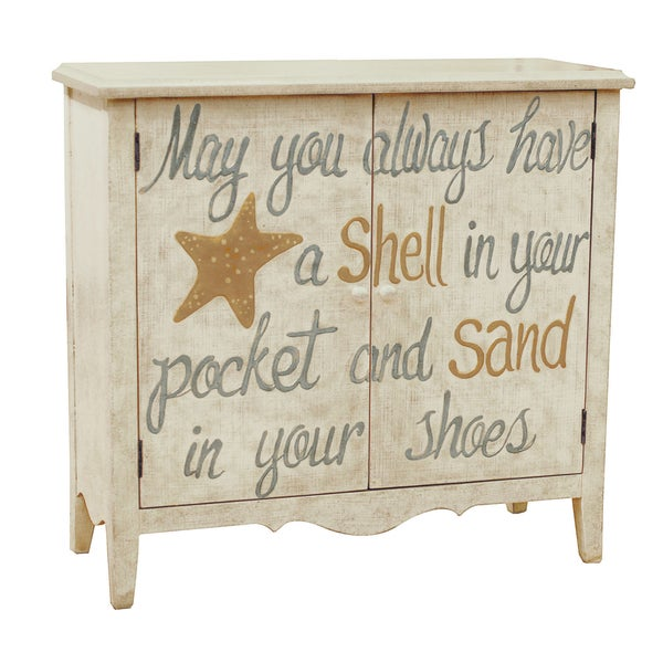 Hand Painted Distressed Sand Finish Accent Chest Free