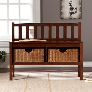 Harper Blvd Espresso Bench with Storage Baskets