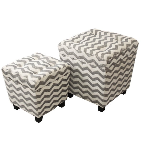 Exceptionnel Alana Square Chevron Fabric Storage Ottoman