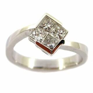 Kabella Luxe 18k White Gold 5/8ct TDW Diamond Square Ring (G-H, VS1-VS2)