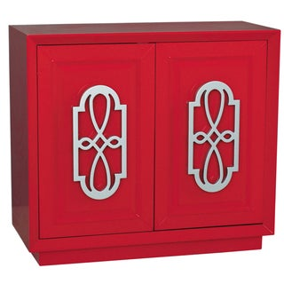 Hand Painted Bright Red Finish Accent Chest