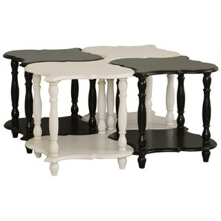 Set of Four Hand Painted Black and White Accent Tables