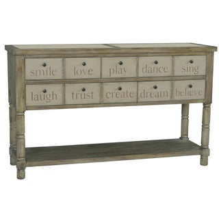 Hand Painted Distressed Vintage Cream Finish Console Table