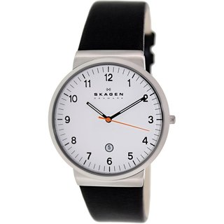Skagen Men's Ancher SKW6024 Black Leather Quartz Watch with White Dial
