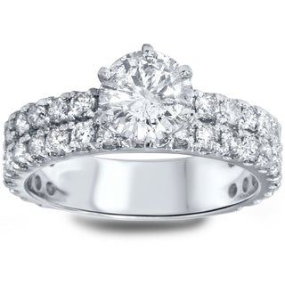 14k White Gold 2 1/2ct TDW Diamond Double Row Engagement Ring