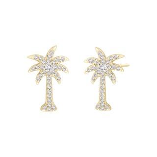 10k Yellow Gold 1/3ct TDW Diamond Palm Tree Earrings (G-H, I2-I3)