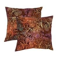 Cotton Batik Brick 20-inch Throw Pillows (Set of 2)