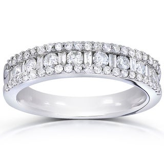 Link to Annello by Kobelli 14k White Gold 3/4ct TDW Round and Baguette Diamond Wedding Band Similar Items in Rings