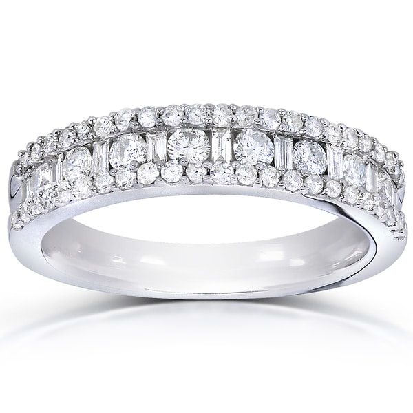 Annello by Kobelli 14k White Gold 3/4ct TDW Round and Baguette Diamond Wedding Band. Opens flyout.