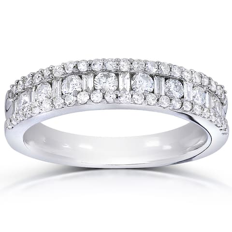 Annello by Kobelli 14k White Gold 3/4ct TDW Round and Baguette Diamond Wedding Band