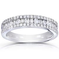 Annello 14k White Gold 3/4ct TDW Round and Baguette Diamond Wedding Band