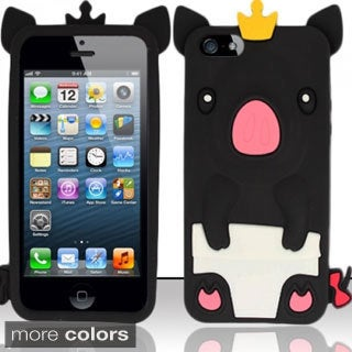 INSTEN 3D Piggy Cartoon Soft Silicone Skin Phone Case Cover for Apple iPhone 5/ 5S/ SE