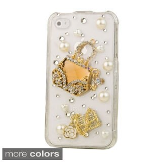 INSTEN Bling Full Diamond Pattern Snap-on Hard Plastic Phone Case Cover for Apple iPhone 4/ 4S