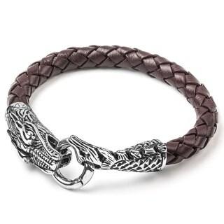 Crucible Men's Stainless Steel Woven Leather Dragon Bracelet