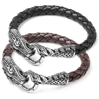 Crucible Stainless Steel Men's Woven Leather Dragon Bracelet