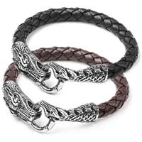 Crucible Men's Stainless Steel Woven Leather Dragon Bracelet