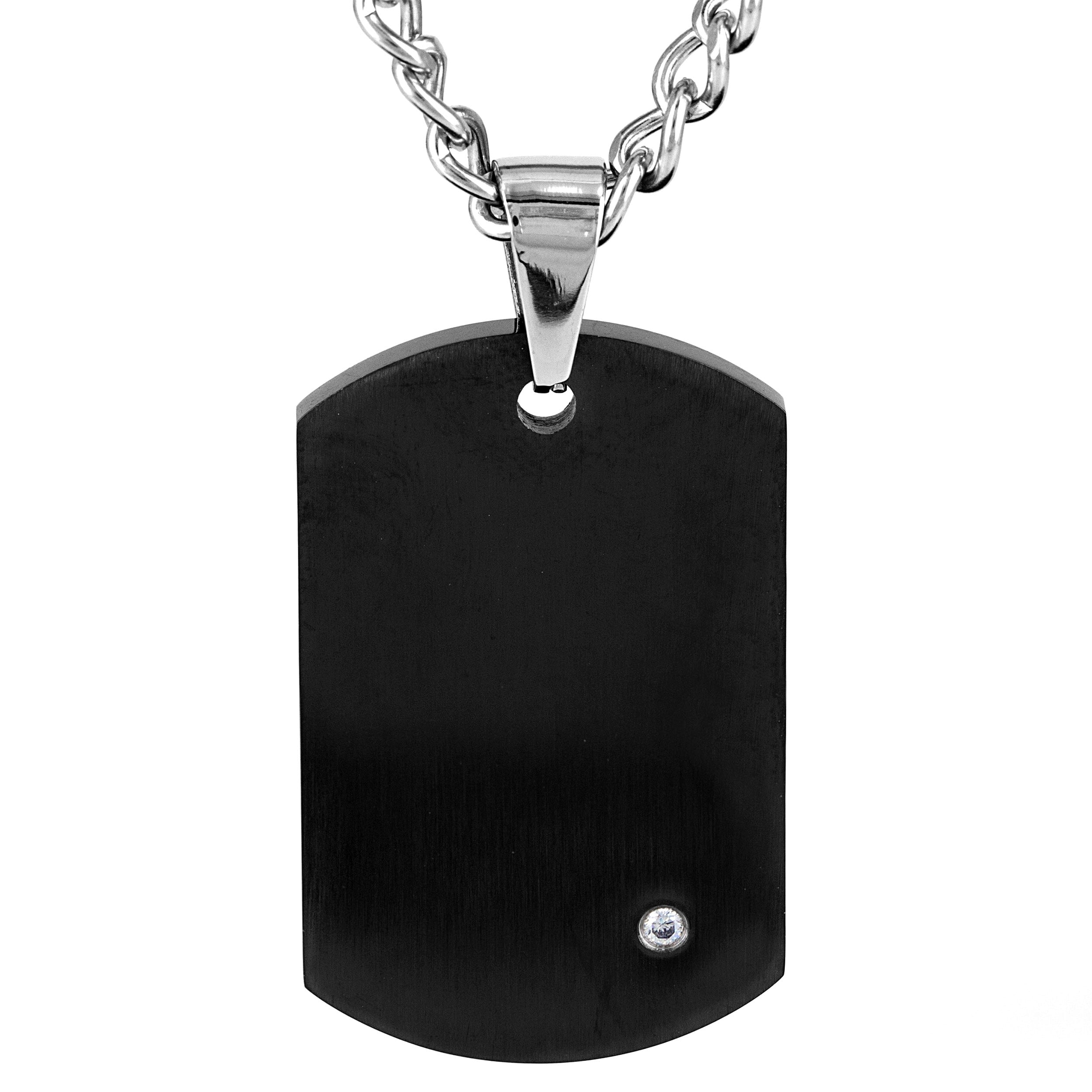 495ede1574f58b Crucible Stainless Steel Men's Black-plated Cubic Zirconia Dog Tag Necklace