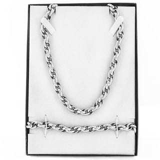 Stainless Steel Men's Twisted Rope Chain Necklace and Bracelet Set