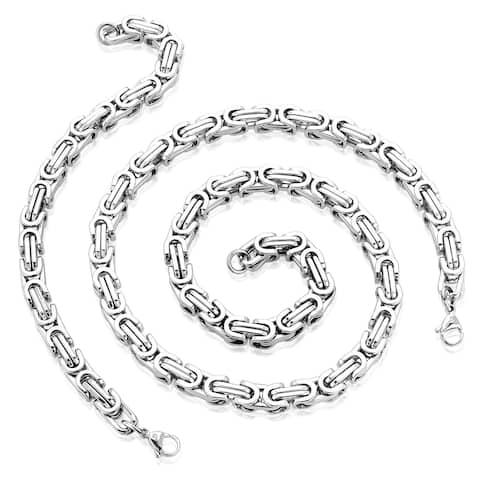Crucible Stainless Steel Byzantine Chain Jewelry Set (2-Piece Set)