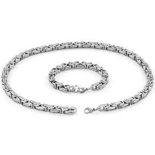 Men's Stainless Steel 24-inch Byzantine Chain Necklace and 9-inch Bracelet (2-Piece Set)