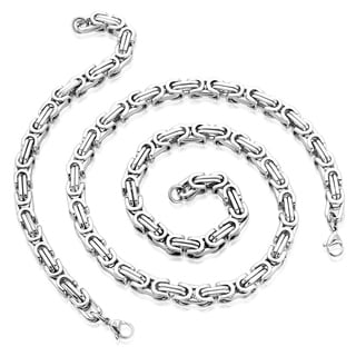 Men's Stainless Steel 24-inch Byzantine Chain Necklace and 9-inch Bracelet Set