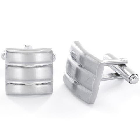 Men's Stainless Steel Brushed and Polished Cuff Links