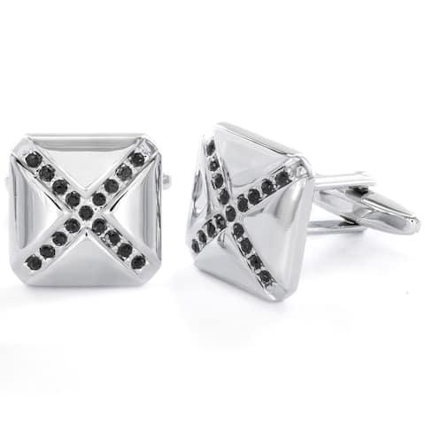 Men's X Design Black Cubic Zirconia Cuff Links