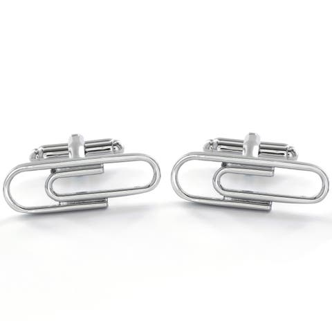 Men's High Polish Paperclip Cuff Links