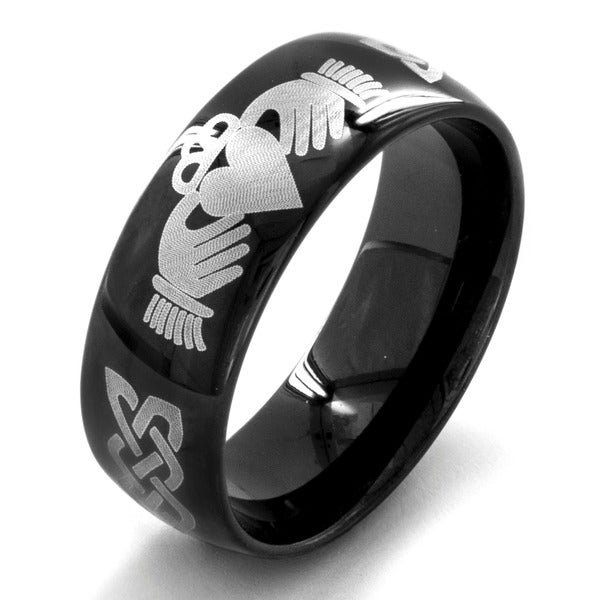 Black Plated Stainless Steel Menx27s Claddagh Ring