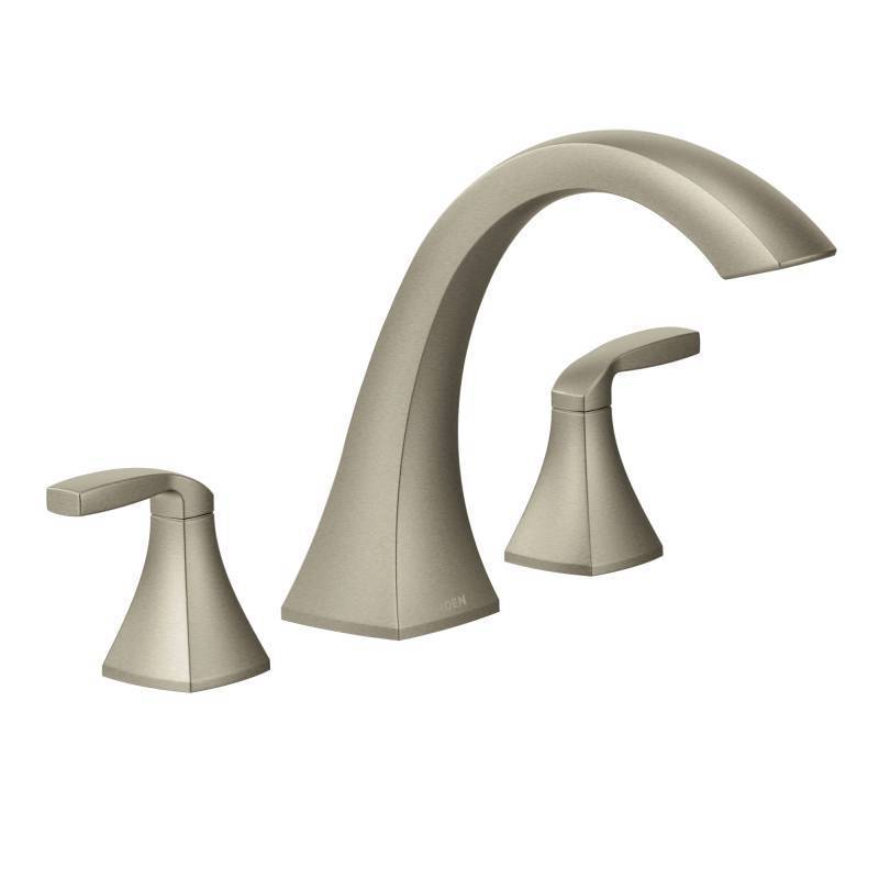 MOEN Voss Brushed Nickel Two-handle High Arc Roman Tub Fa...