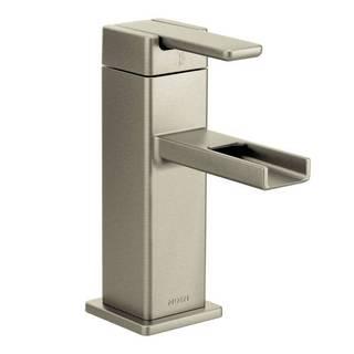Moen 90-degree Brushed Nickel One-handle Low Arc Bathroom Faucet
