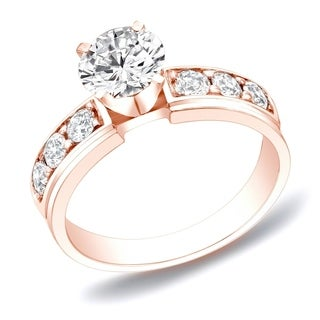 Auriya 14k Rose Gold 1ct TDW Round Diamond Engagement Ring