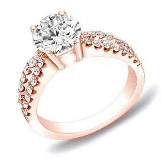 Auriya 14k Rose Gold 1ct TDW Round Diamond Engagement Ring (H-I, SI1-SI2)
