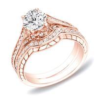 Auriya 14k Rose Gold Engraved 1ct TDW Certifed Round Diamond Engagement Ring Bridal Set